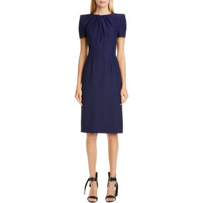 Alexander Mcqueen Pleated Sheath Dress, 6 IT - Blue
