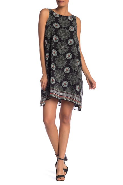 Image of Max Studio Scarf Print Sleeveless Shift Dress