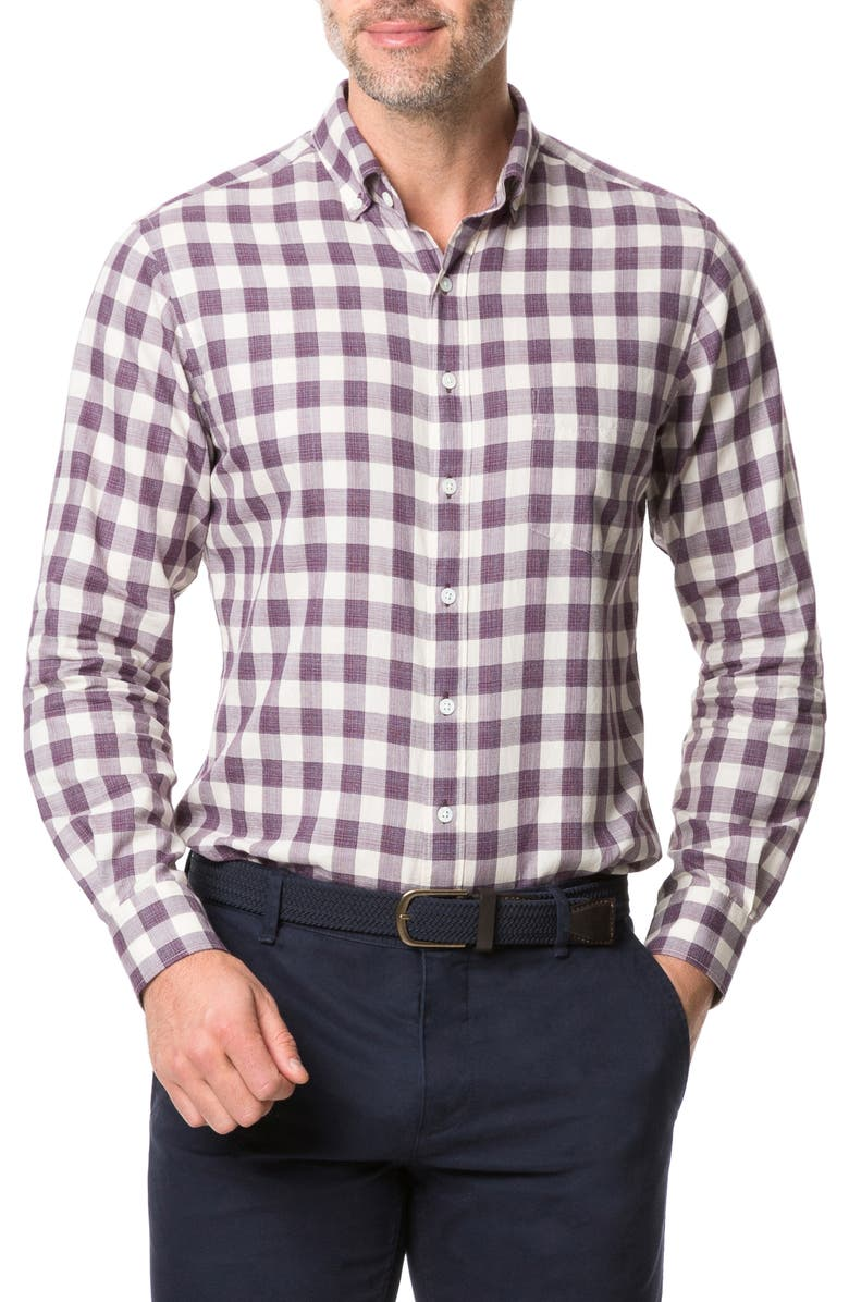 RODD & GUNN Barryville Regular Fit Check Button-Up Shirt, Main, color, PORT