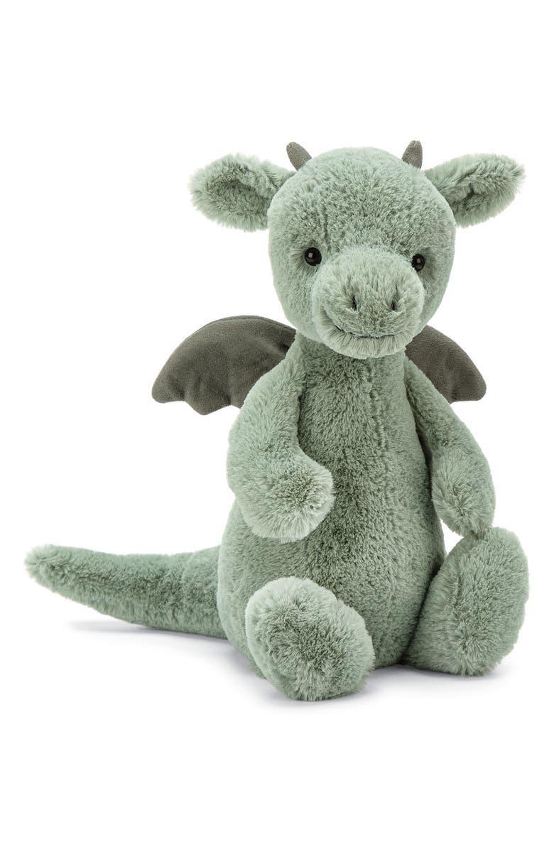 JELLYCAT Medium Bashful Dragon Stuffed Animal, Main, color, GREEN