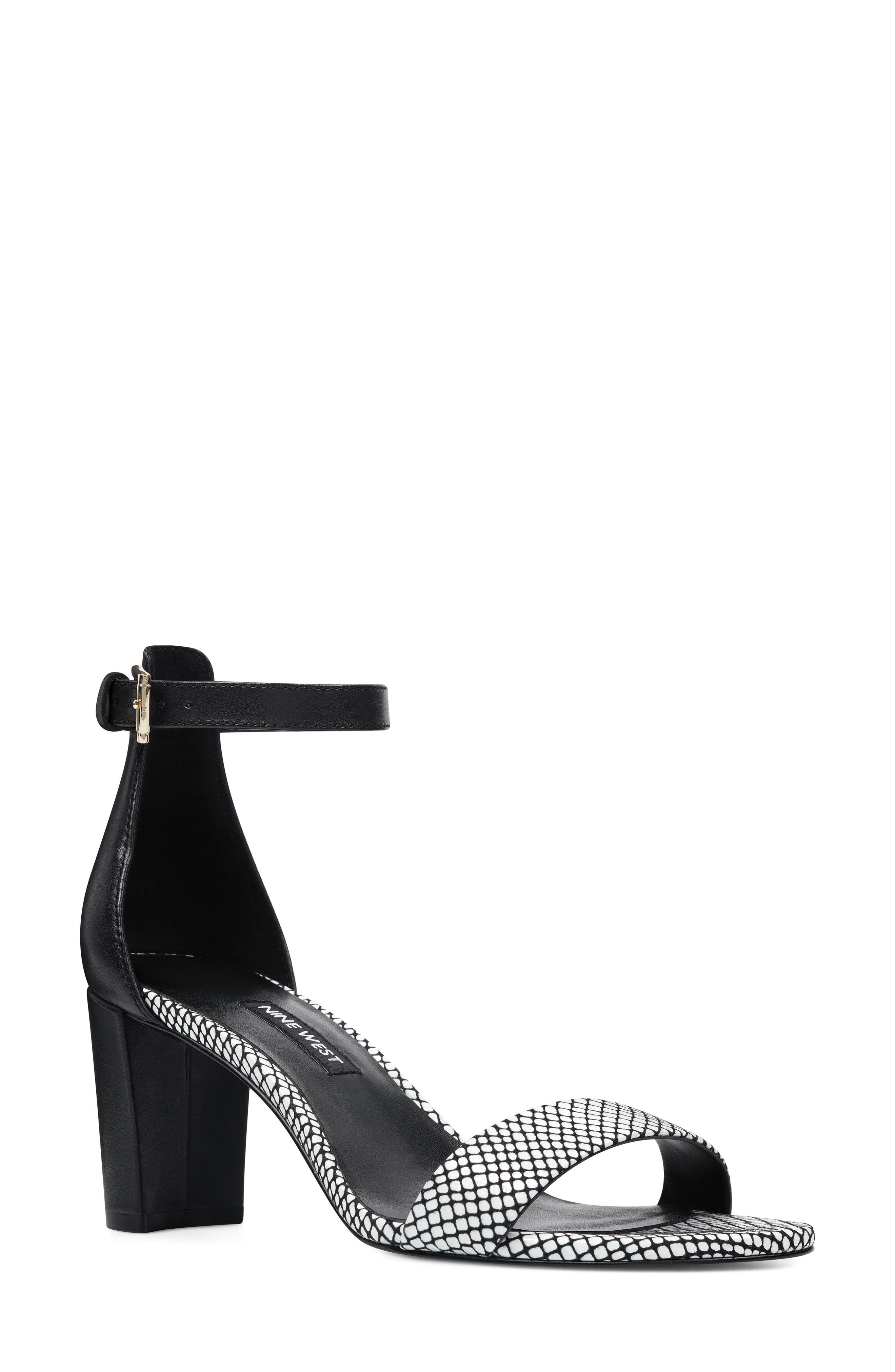 Pruce Ankle Strap Sandal, Main, color, BLACK/ WHITE LEATHER