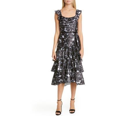 Marchesa Notte Ruffle Charmeuse Cocktail Dress, Black