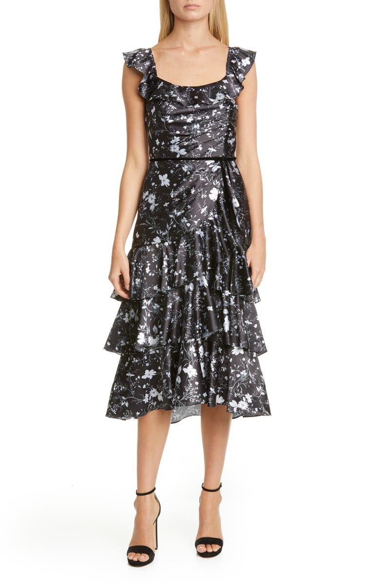 MARCHESA NOTTE Ruffle Charmeuse Cocktail Dress, Main, color, BLACK