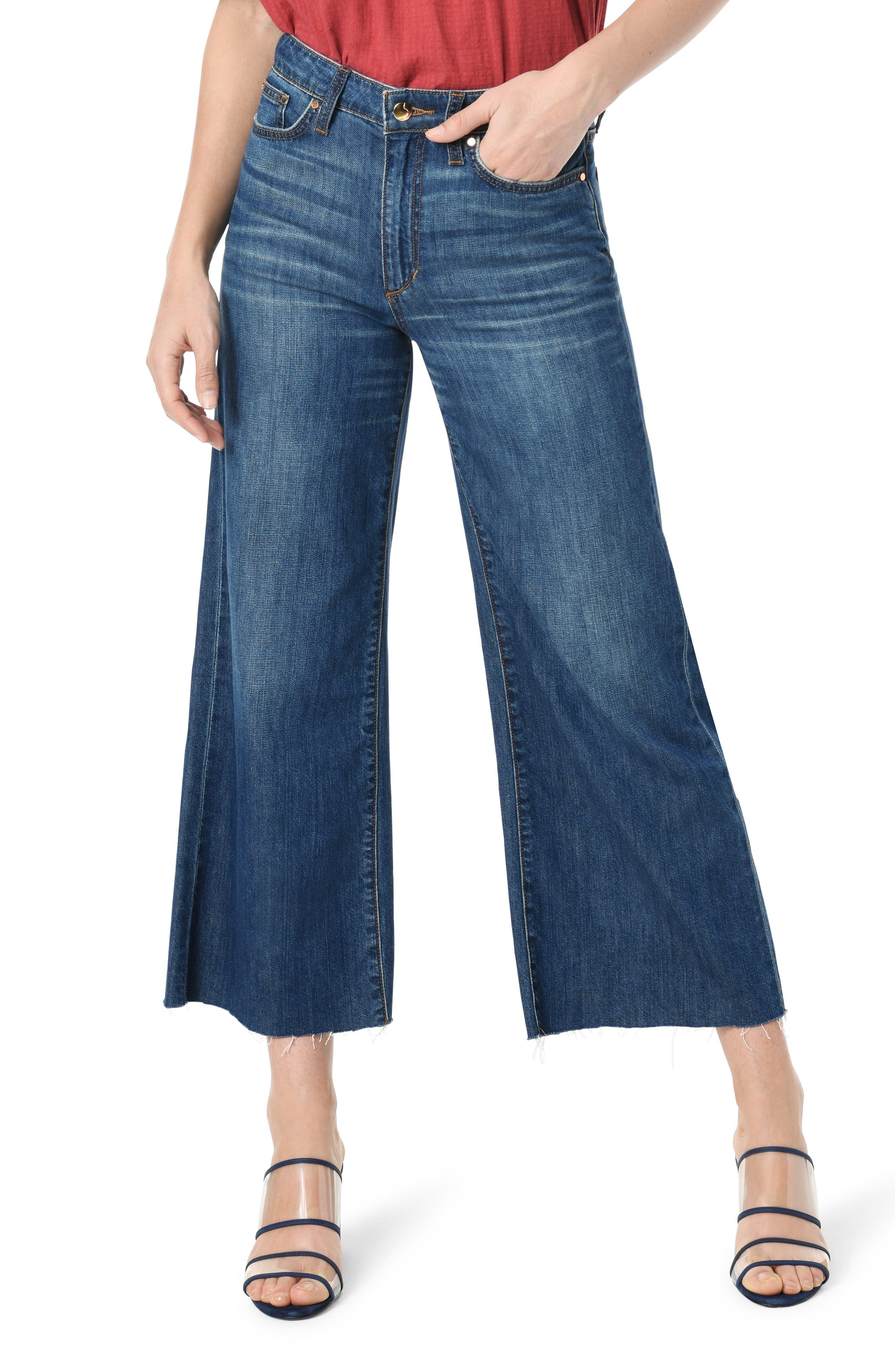 Joe's Jeans High Waist Raw Hem Crop Wide Leg Jeans