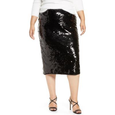 Plus Size Halogen Sequin Skirt, Black