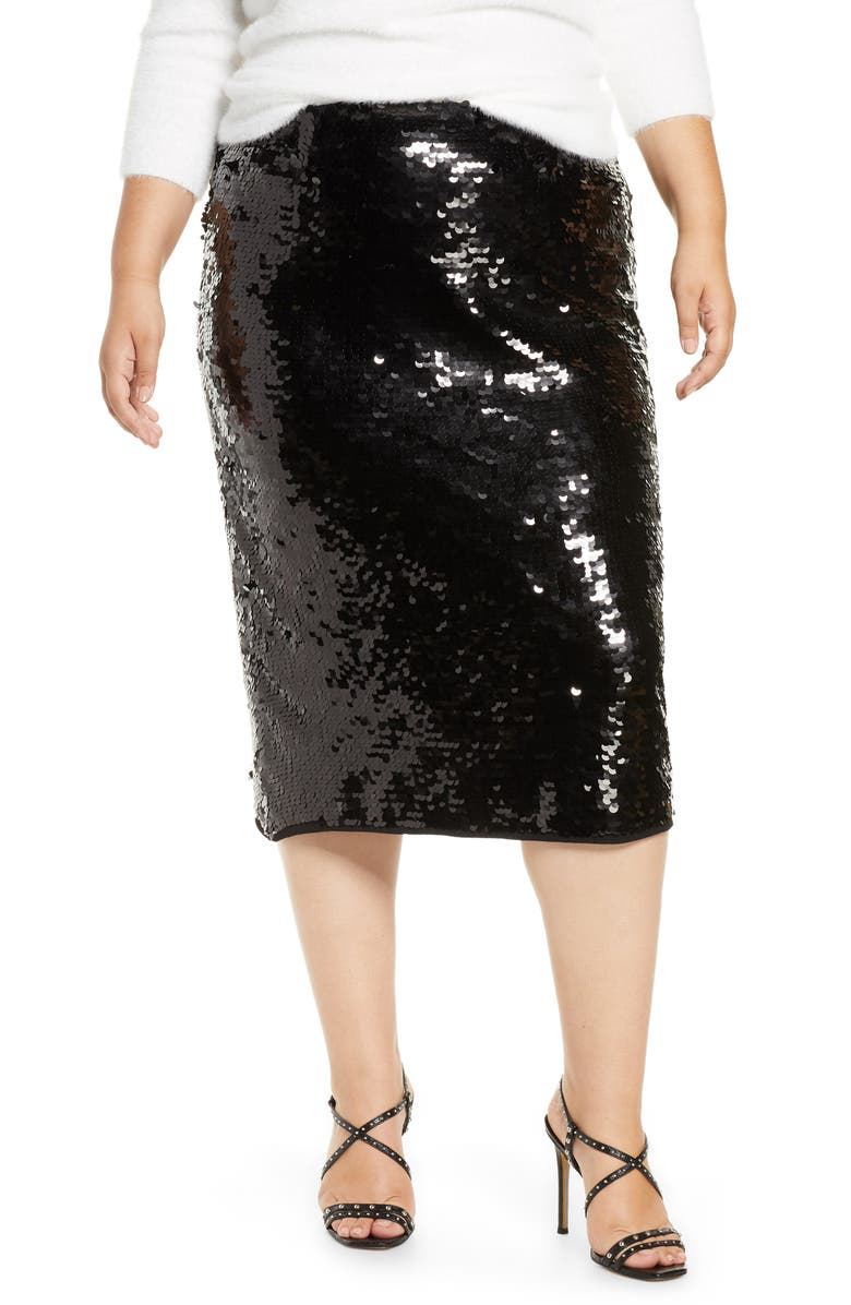 HALOGEN<SUP>®</SUP> Sequin Skirt, Main, color, BLACK