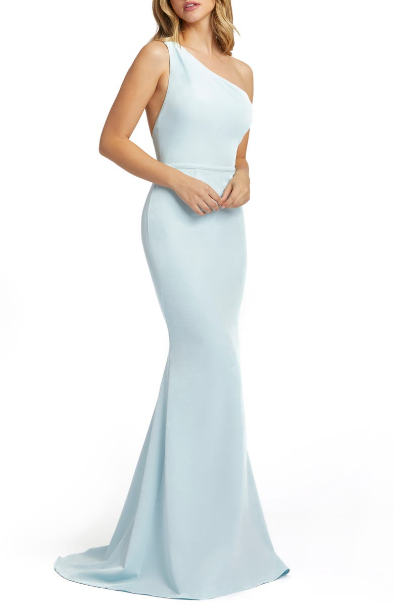 IEENA FOR MAC DUGGAL One-Shoulder Jersey Mermaid Gown, Main, color, POWDER BLUE