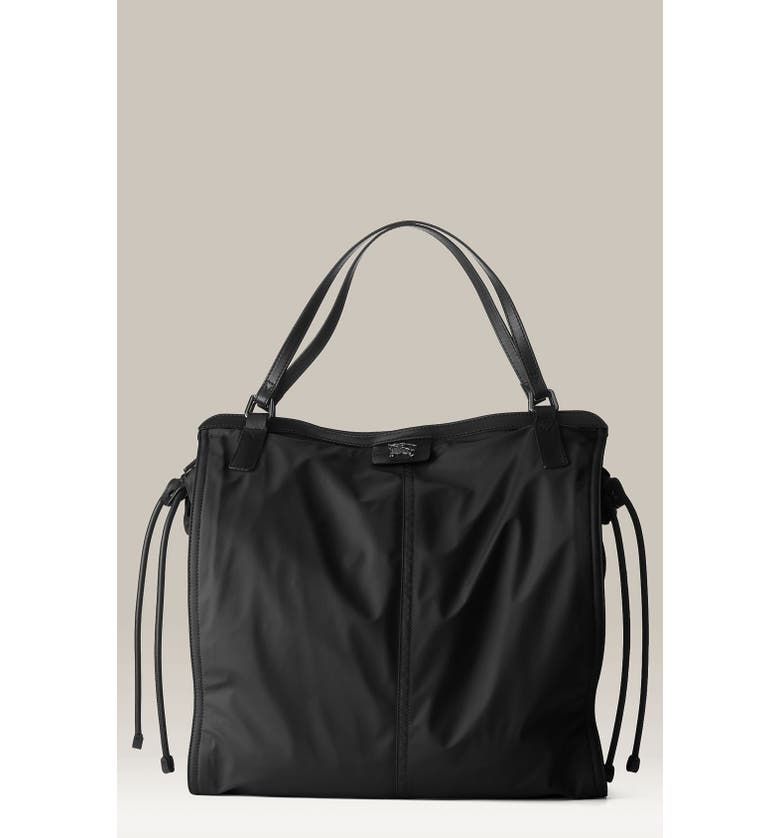 BURBERRY Nylon Shopper, Main, color, 001