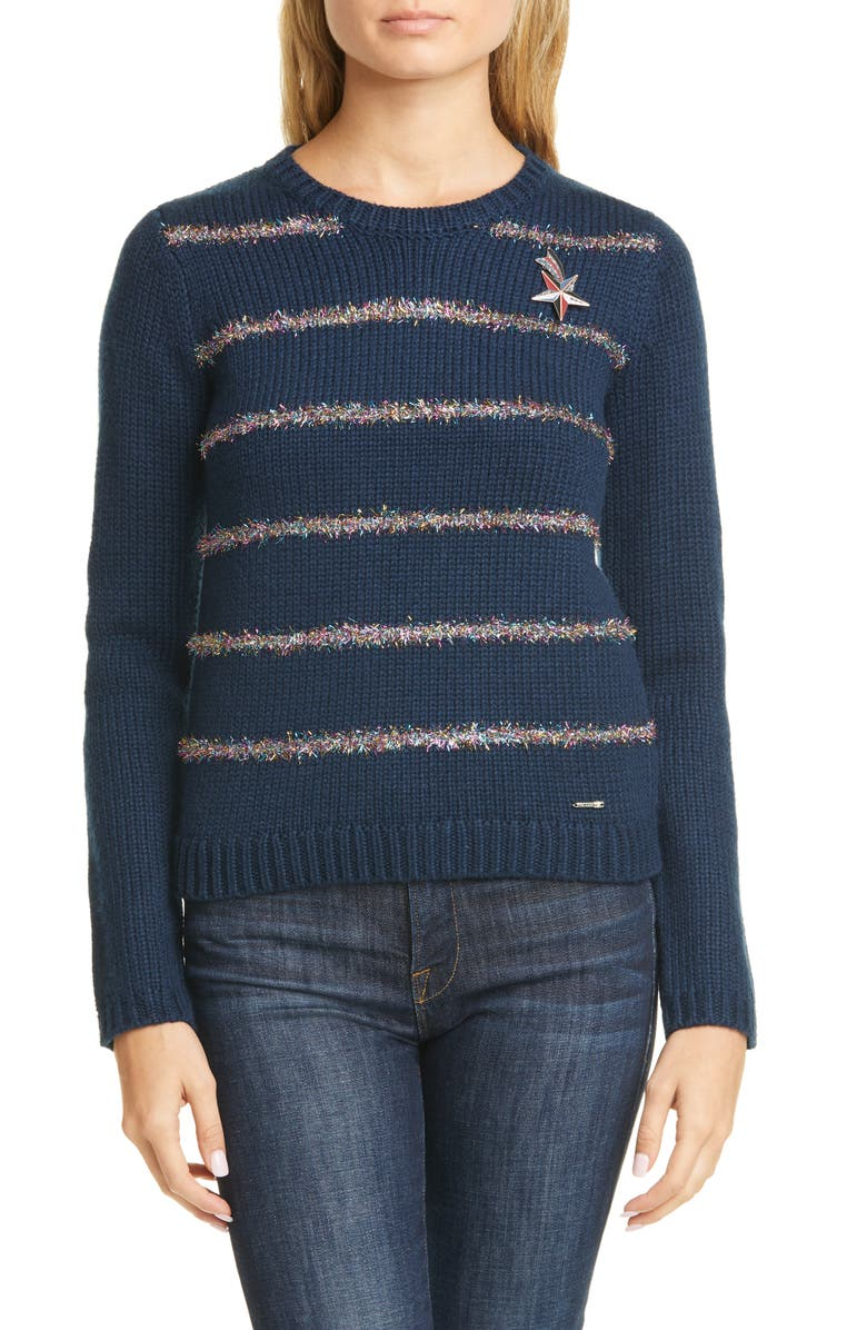 TED BAKER LONDON Tintor Color by Numbers Tinsel Stripe Sweater, Main, color, NAVY