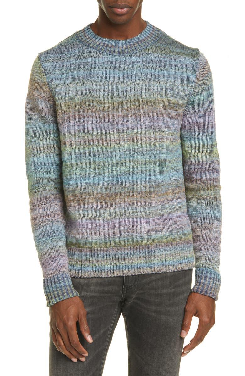 ACNE STUDIOS Kimbal Ombré Crewneck Sweater, Main, color, BLUE MELANGE