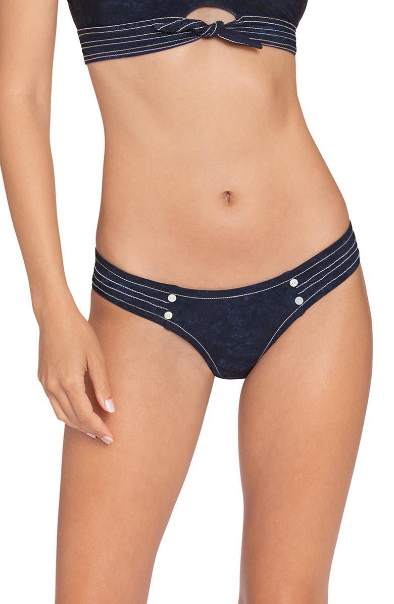 ROBIN PICCONE Valeria Side Tab Bikini Bottoms, Main, color, INDIGO
