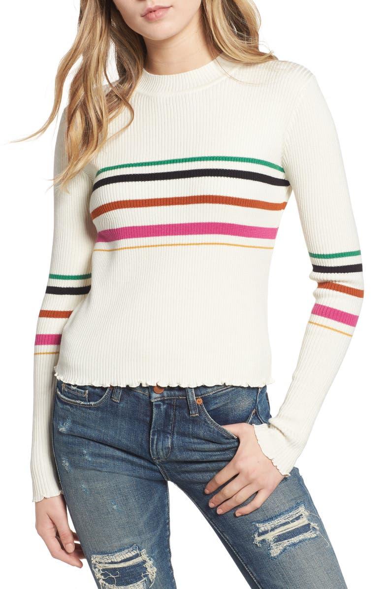 BP. Lettuce Edge Multi Stripe Sweater, Main, color, 900