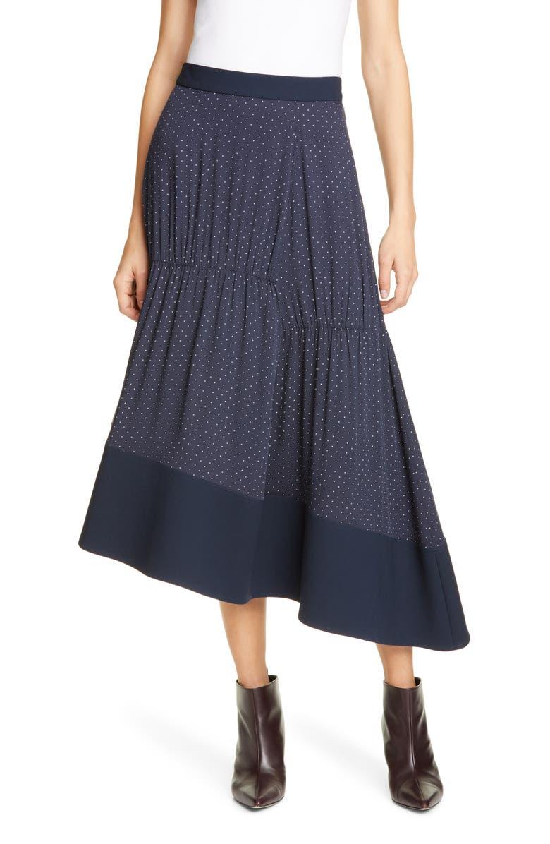 TIBI Pindot Shirred Panel Skirt, Main, color, NAVY MULTI