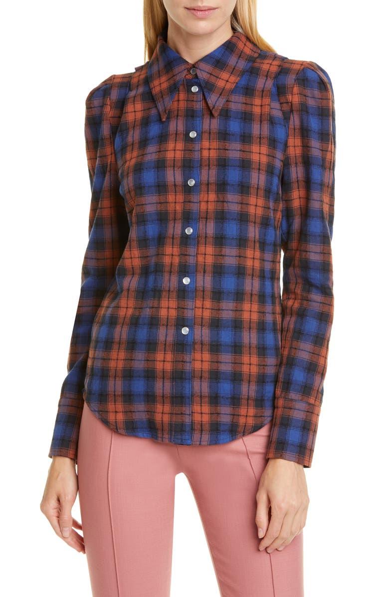 SMYTHE Puff Sleeve Plaid Flannel Shirt, Main, color, NAVY/ RUST PLAID