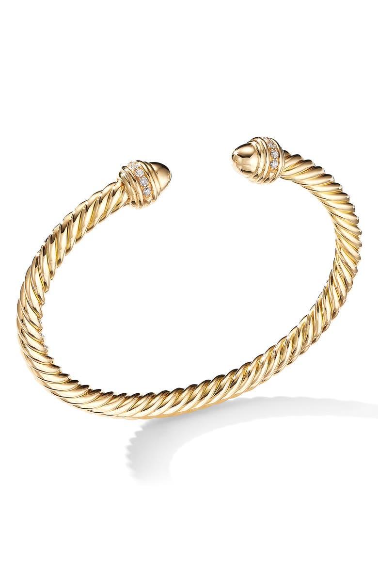 DAVID YURMAN Cable Classics Bracelet with Semiprecious Stones & Diamonds, 5mm, Main, color, YELLOW GOLD/ DIAMOND