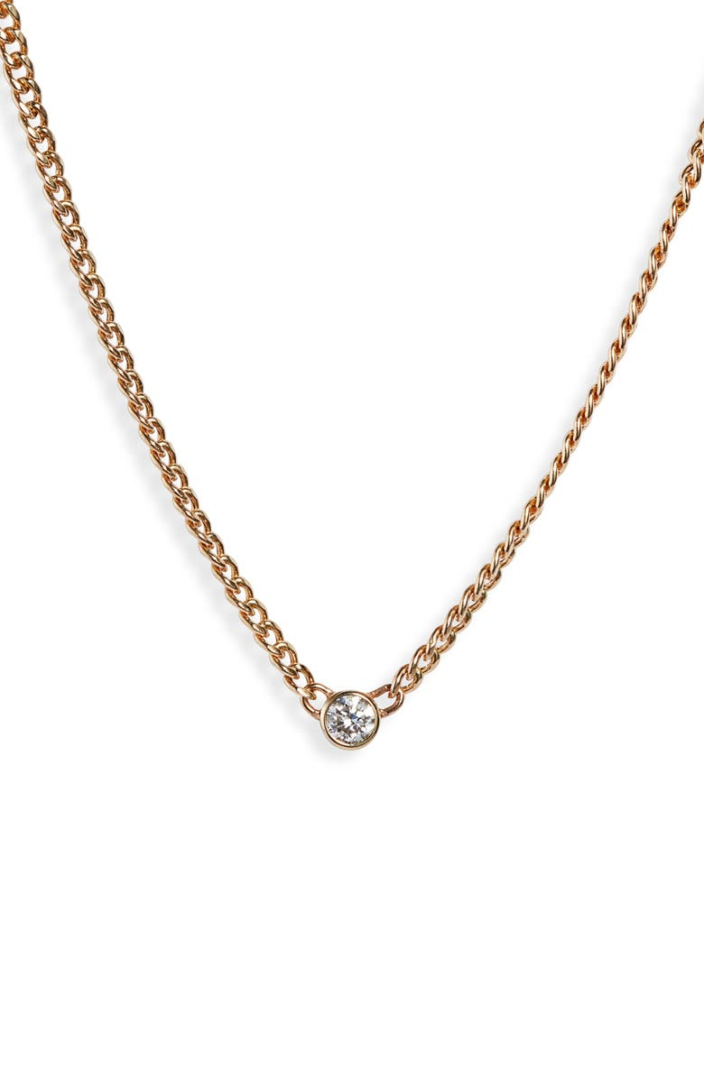 ZOË CHICCO Bezel Diamond Curb Chain Necklace, Main, color, YELLOW GOLD