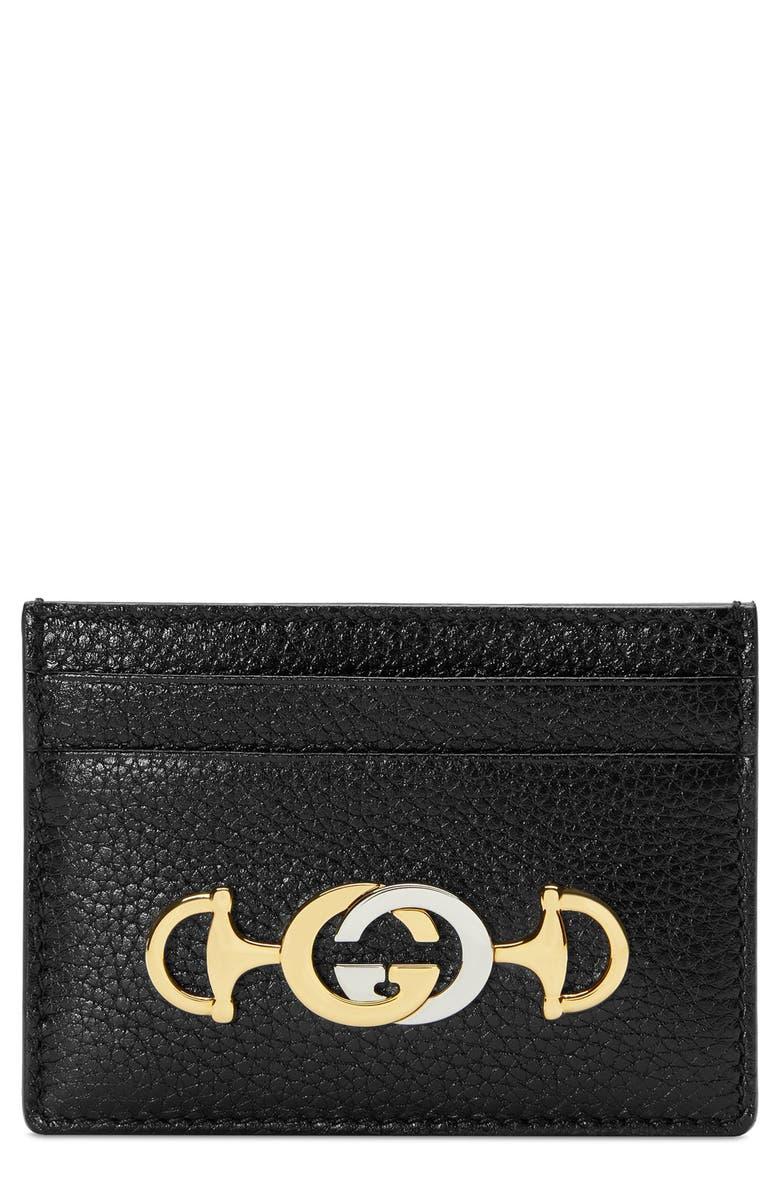 GUCCI Zumi 463 Leather Card Case, Main, color, BLACK