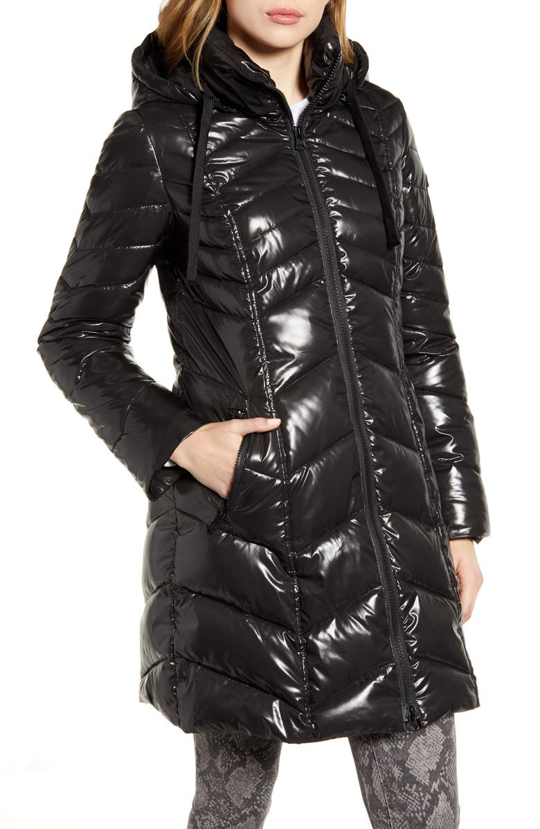 SAM EDELMAN Hooded Puffer Jacket, Main, color, BLACK