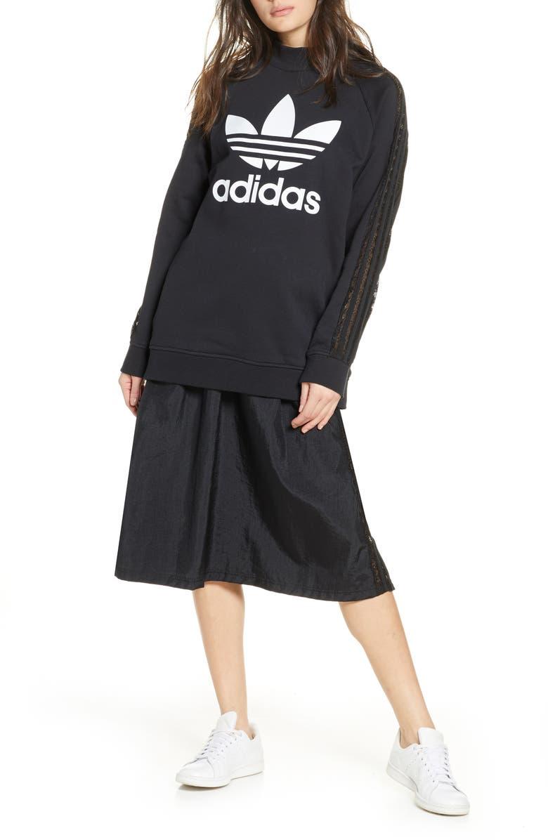 ADIDAS ORIGINALS Lace Stripe Logo Cotton Sweatshirt, Main, color, 001