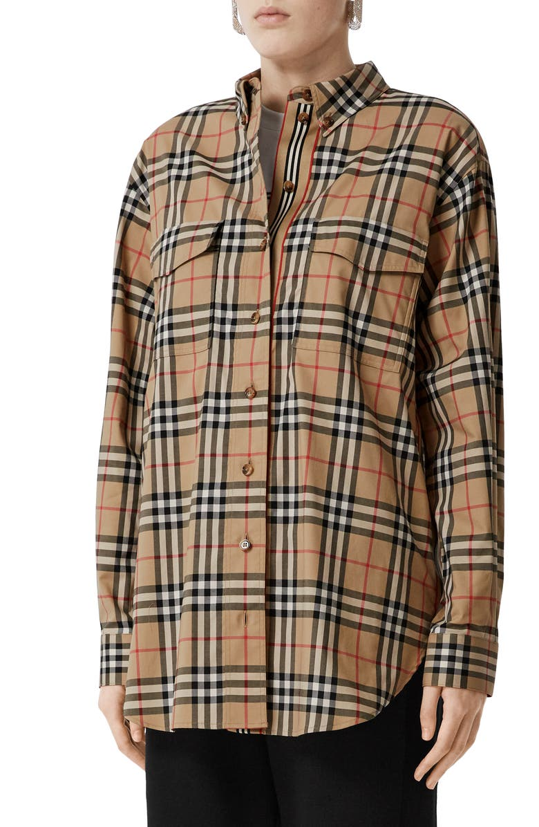 BURBERRY Turnstone Oversize Vintage Check Stretch Cotton Shirt, Main, color, ARCHIVE BEIGE IP CHK