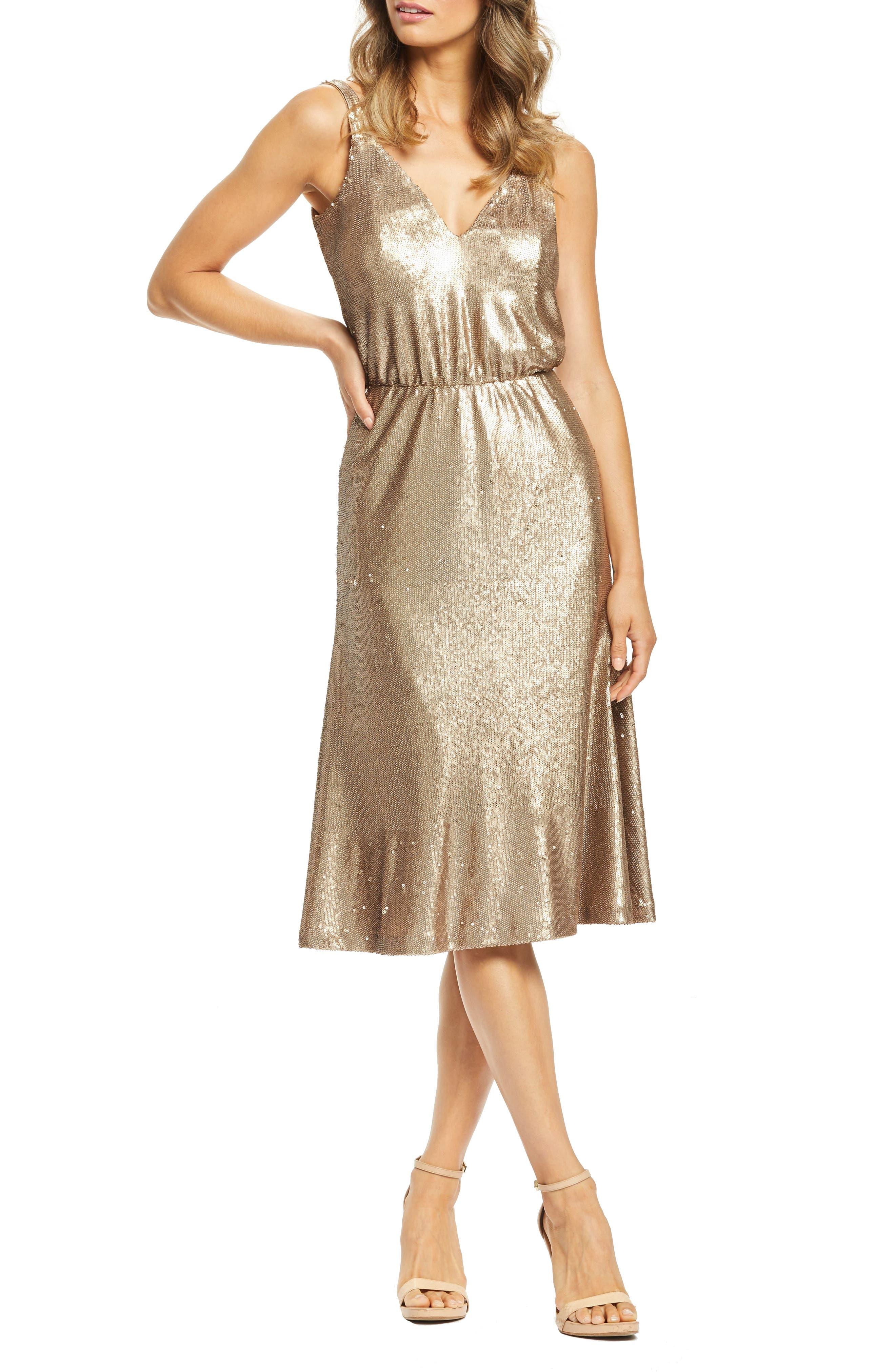 1960s – 70s Cocktail, Party, Prom, Evening Dresses Womens Dress The Population Cameron Sequin Blouson Dress Size XX-Large - Metallic $148.80 AT vintagedancer.com