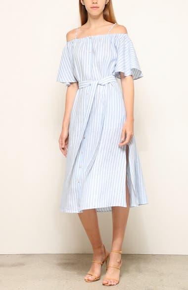 Tulum Cold Shoulder Linen Midi Dress, video thumbnail