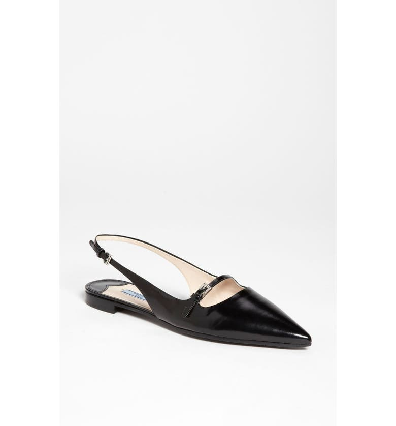 PRADA Pointy Toe Slingback Flat, Main, color, 001