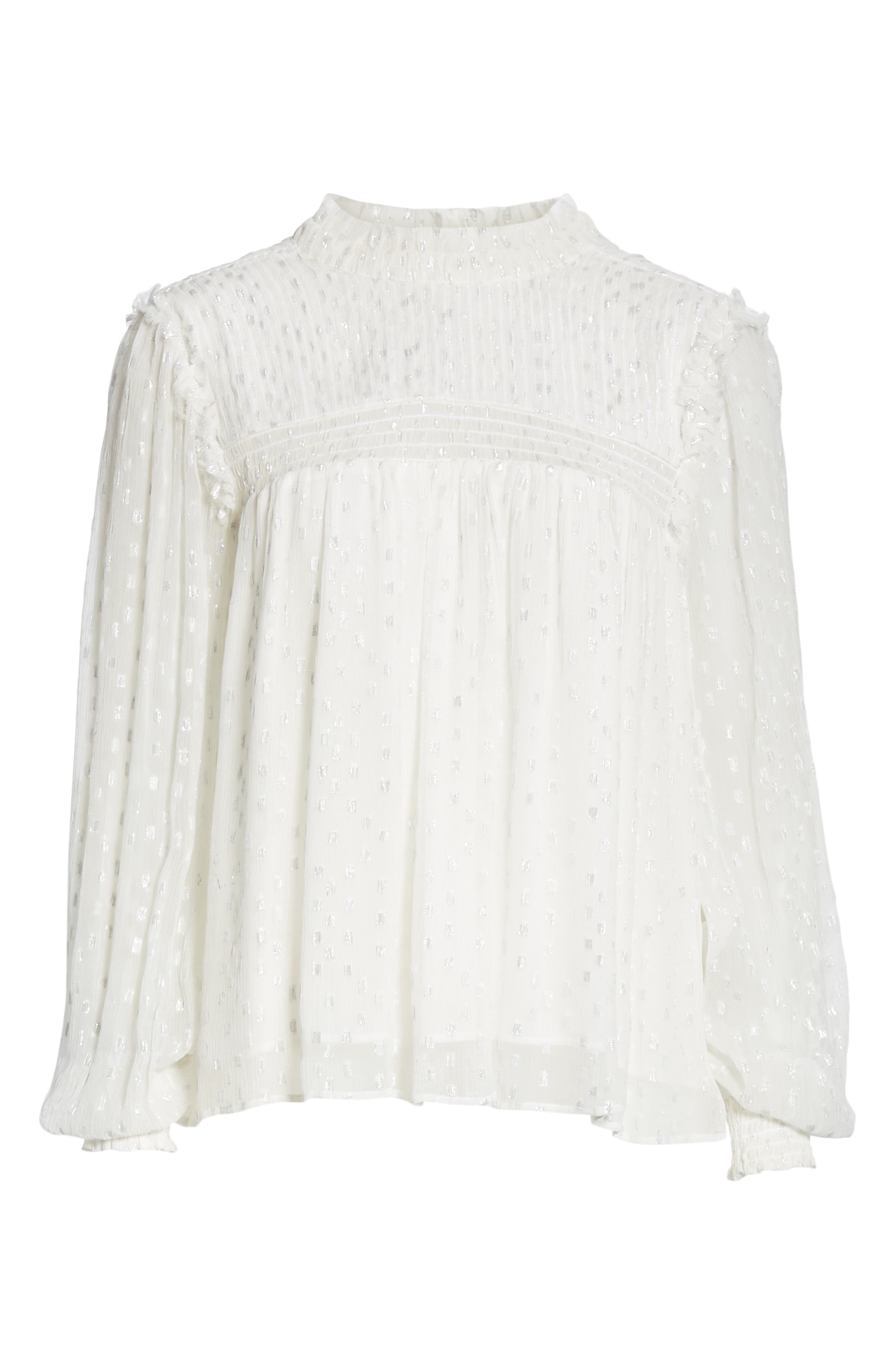 ,                             Smocked Metallic Woven Blouse,                             Alternate thumbnail 6, color,                             OFF WHITE MULTI