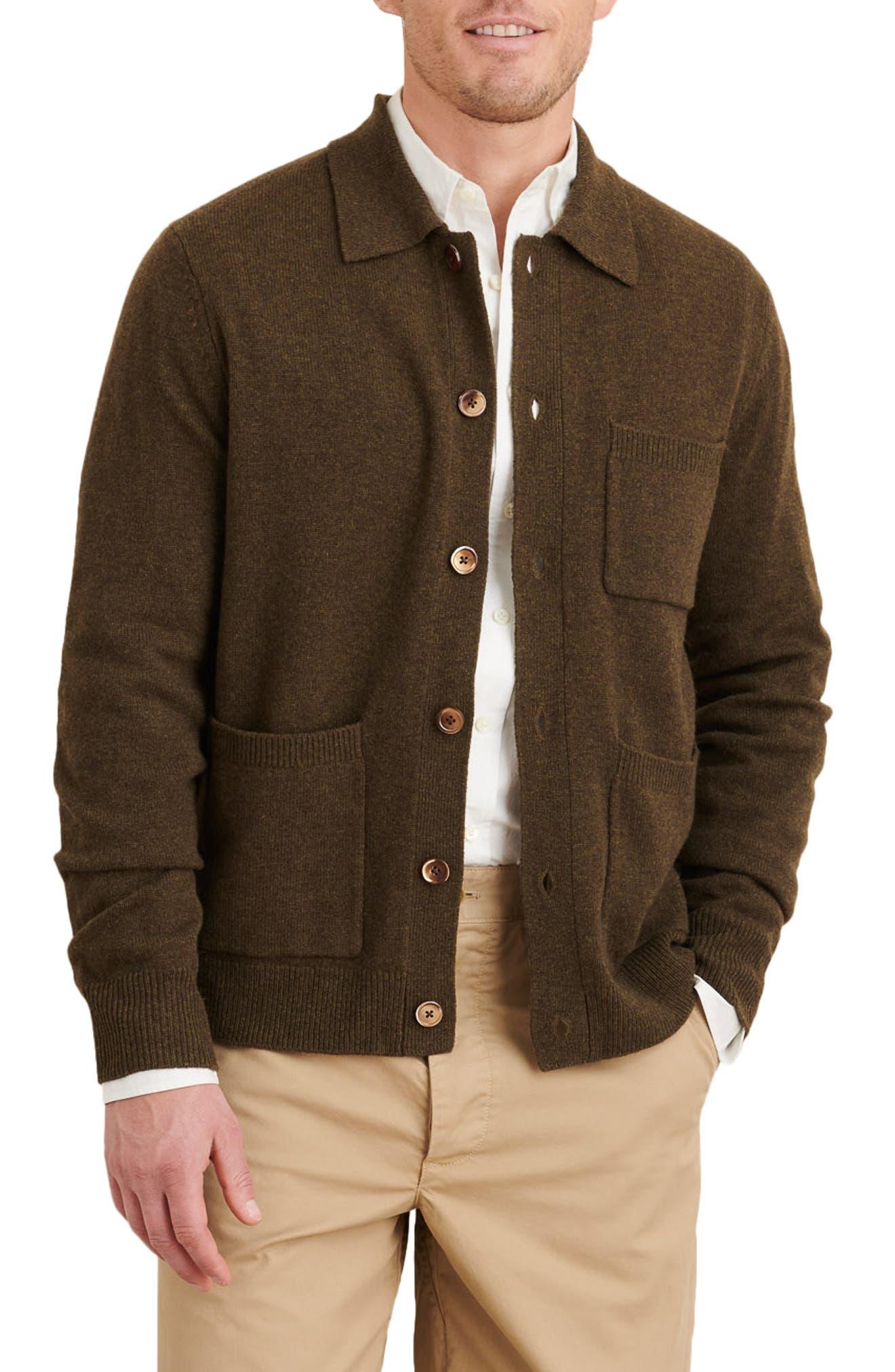 1920s Men's Style Clothing Alex Mill Merino Wool Cardigan Size Medium in Heather Green at Nordstrom $185.00 AT vintagedancer.com