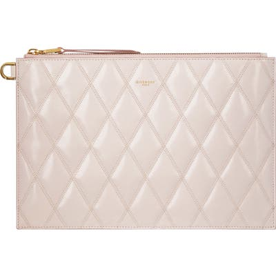 Givenchy Quilted Leather Zip Pouch - Pink