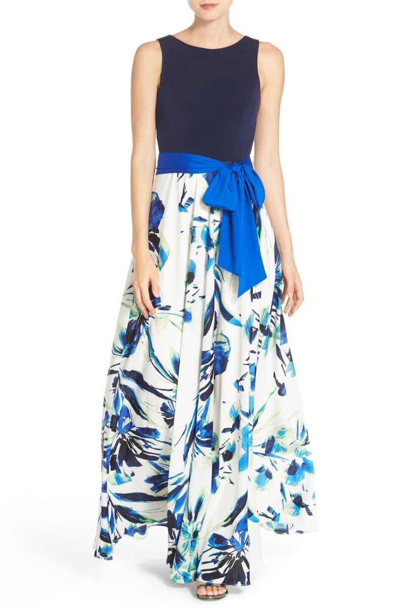ELIZA J Jersey & Crêpe de Chine Maxi Dress, Main, color, 421