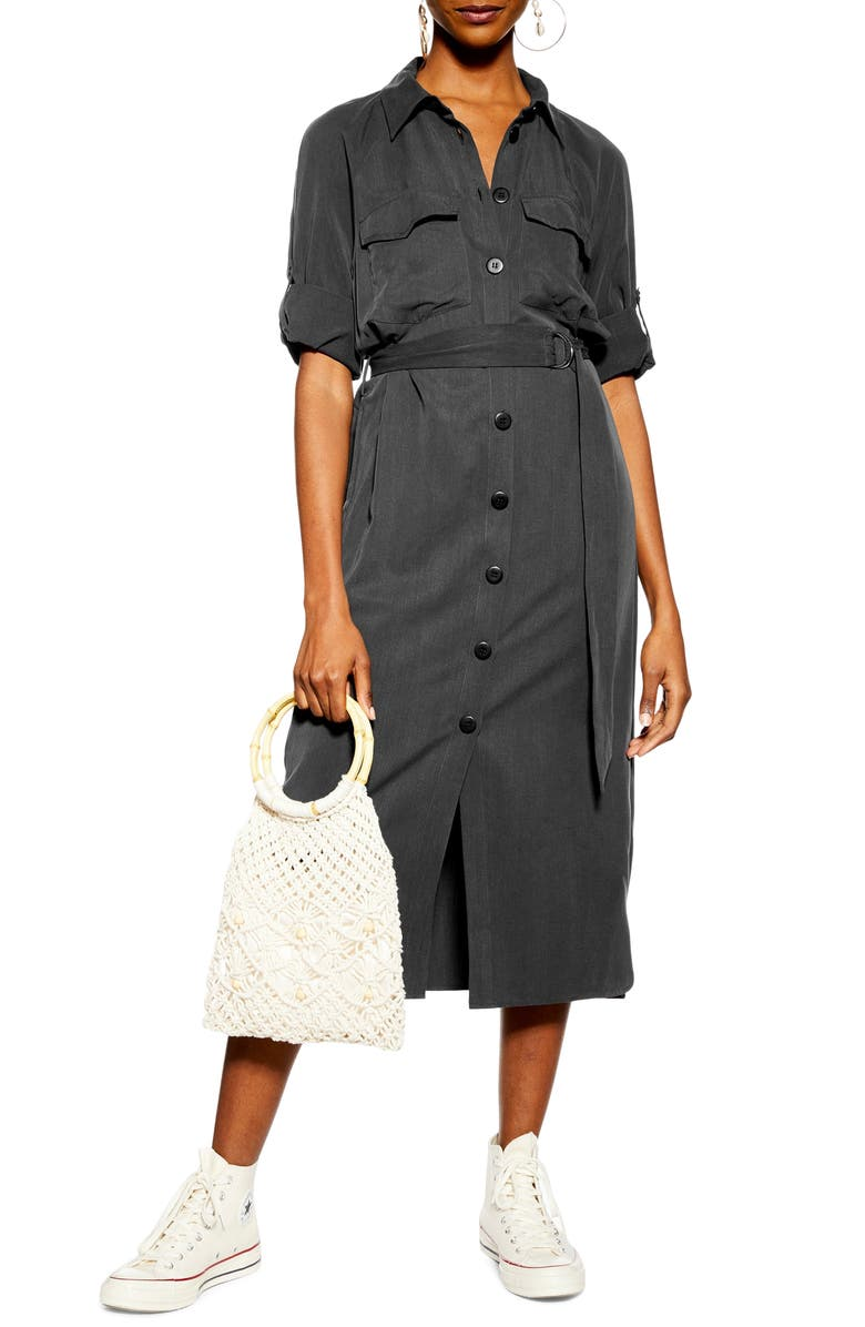 TOPSHOP Utility Midi Shirtdress, Main, color, BLACK