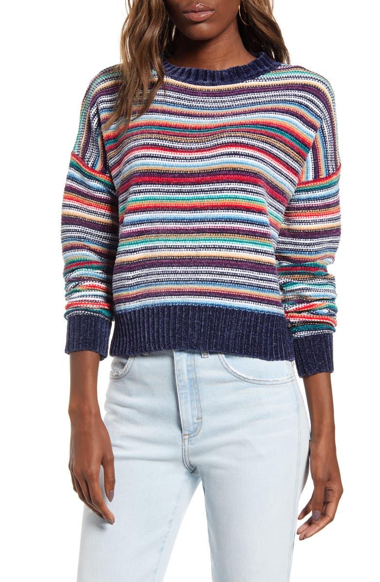 WOVEN HEART Chenille Stripe Sweater, Main, color, 600