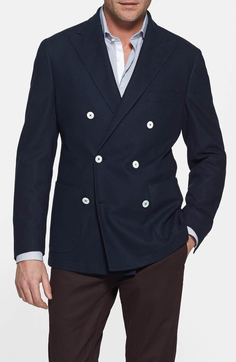 KENT AND CURWEN Double Breasted Knit Blazer, Main, color, 413