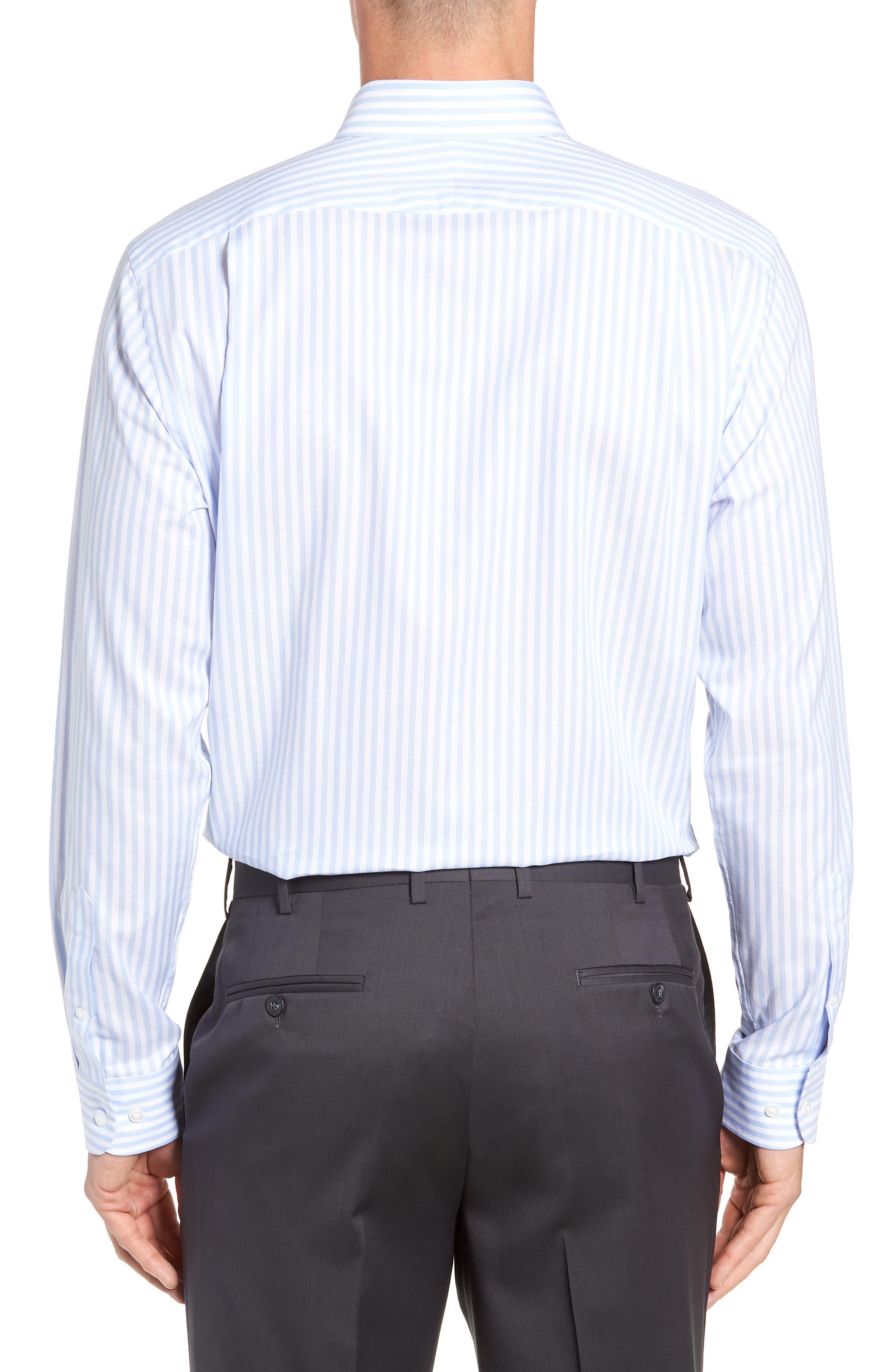 ,                             Trim Fit Stripe Dress Shirt,                             Alternate thumbnail 3, color,                             BLUE STORK
