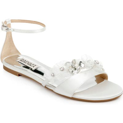 Badgley Mischka Candace Embellished Flat, White