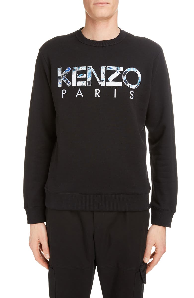 KENZO Paris Logo Appliqué Crewneck Sweatshirt, Main, color, BLACK