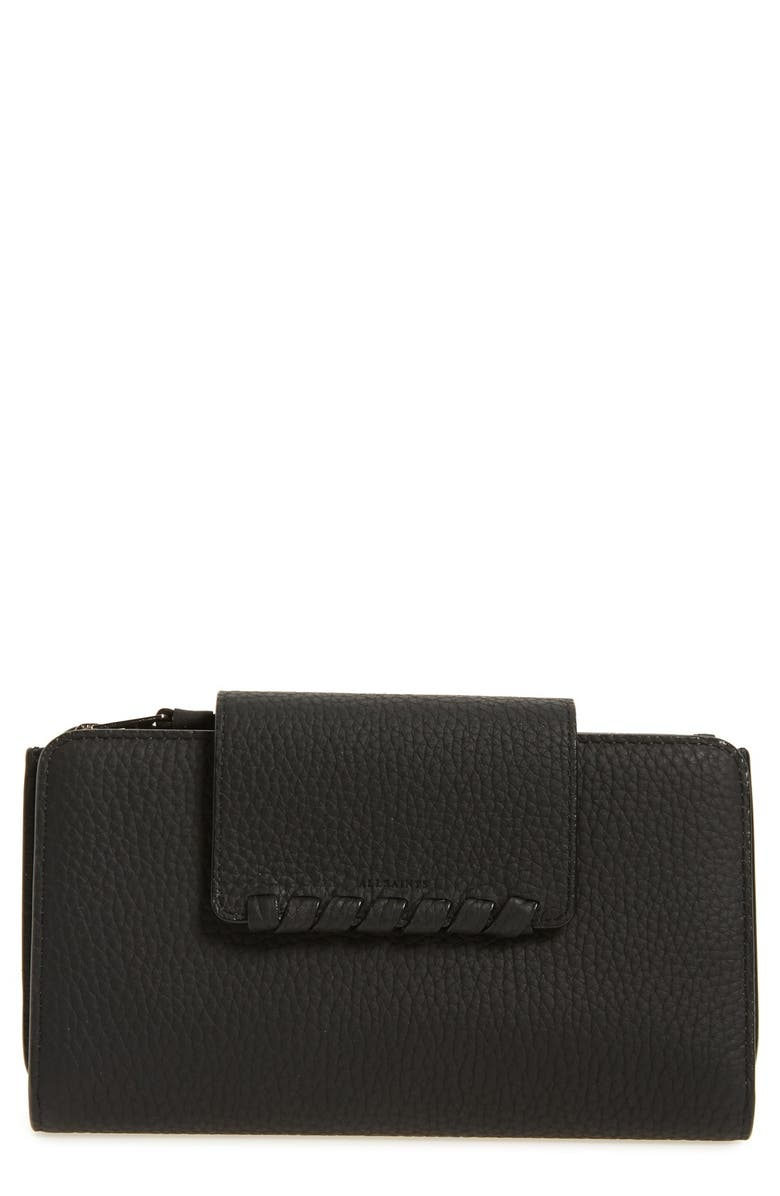 ALLSAINTS Kita Japanese Leather Wallet, Main, color, BLACK