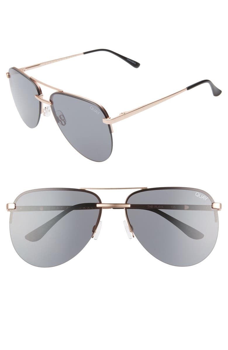 QUAY AUSTRALIA x JLO The Playa 54mm Aviator Sunglasses, Main, color, ROSE GOLD/ SMOKE