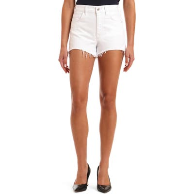 Mavi Jeans Rosie High Waist Distressed Cutoff Denim Shorts, White