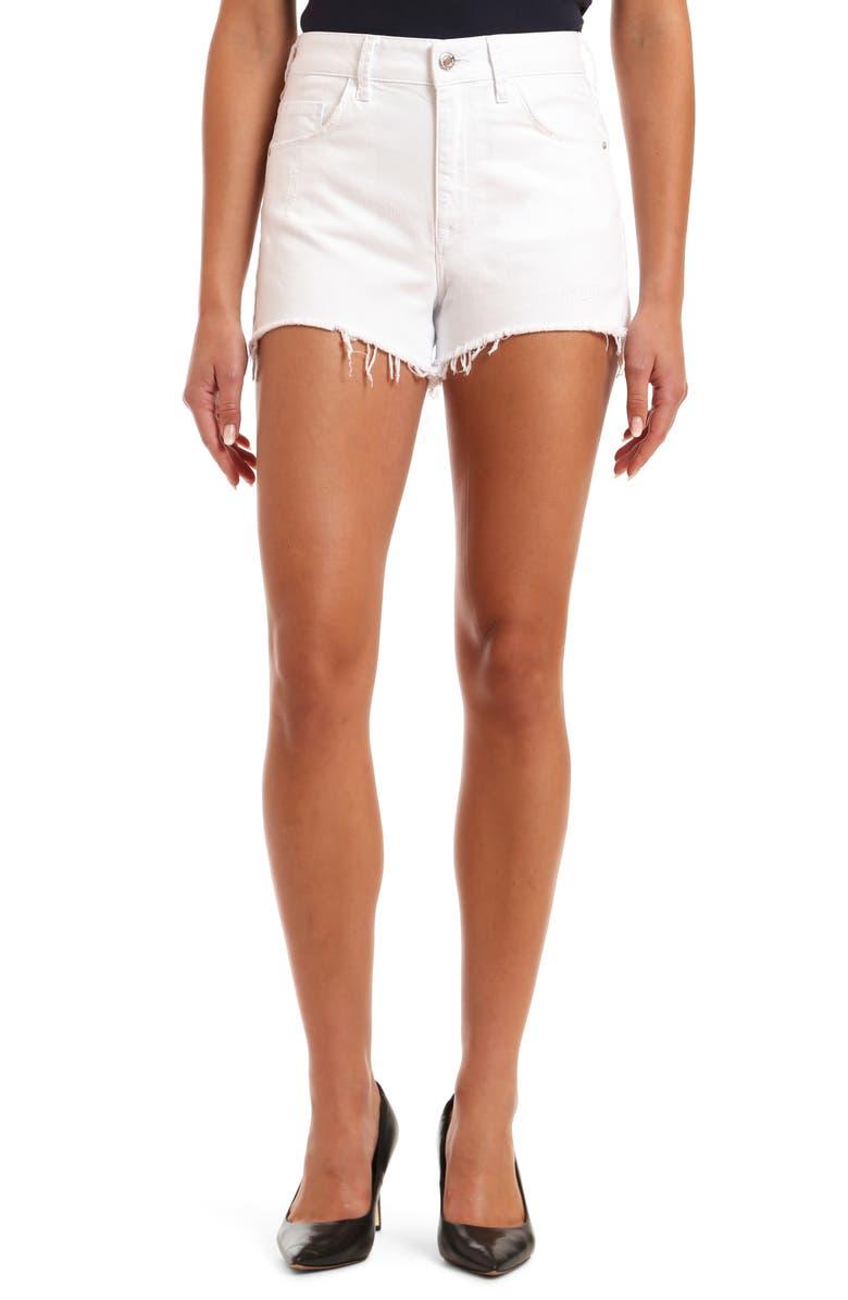 MAVI JEANS Rosie High Waist Distressed Cutoff Denim Shorts, Main, color, WHITE RIPPED STR