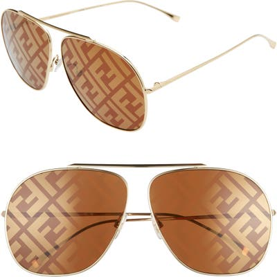 Fendi Oversize Lenticular Lens Aviator Sunglasses - Gold/ Brown