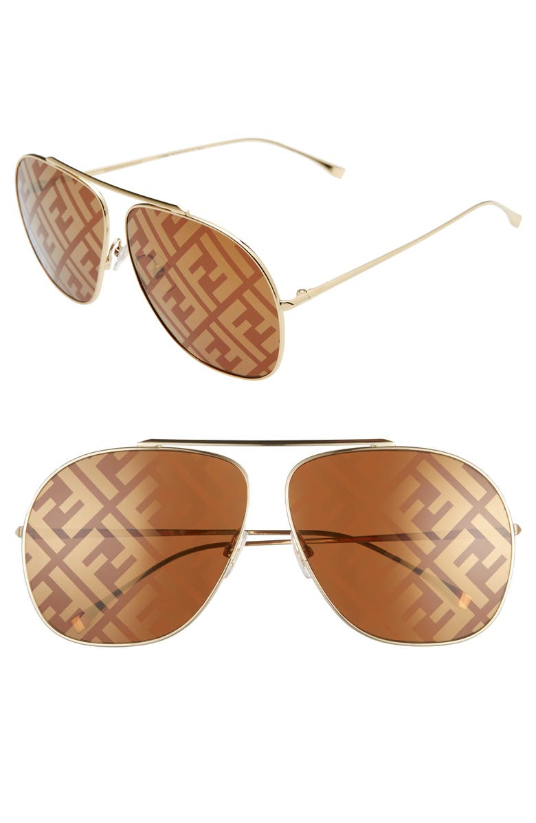 FENDI 64mm Oversize Lenticular Lens Aviator Sunglasses, Main, color, GOLD/ BROWN