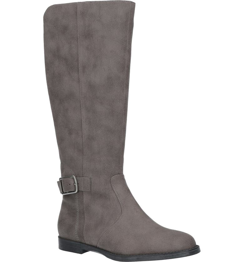 BELLA VITA Makayla Knee High Riding Boot, Main, color, GREY FAUX LEATHER