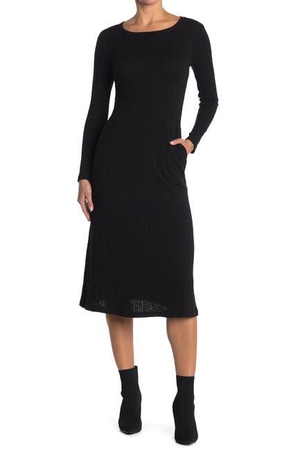 Image of MELLODAY Knit Slub Crew Neck Long Sleeve Midi Dress