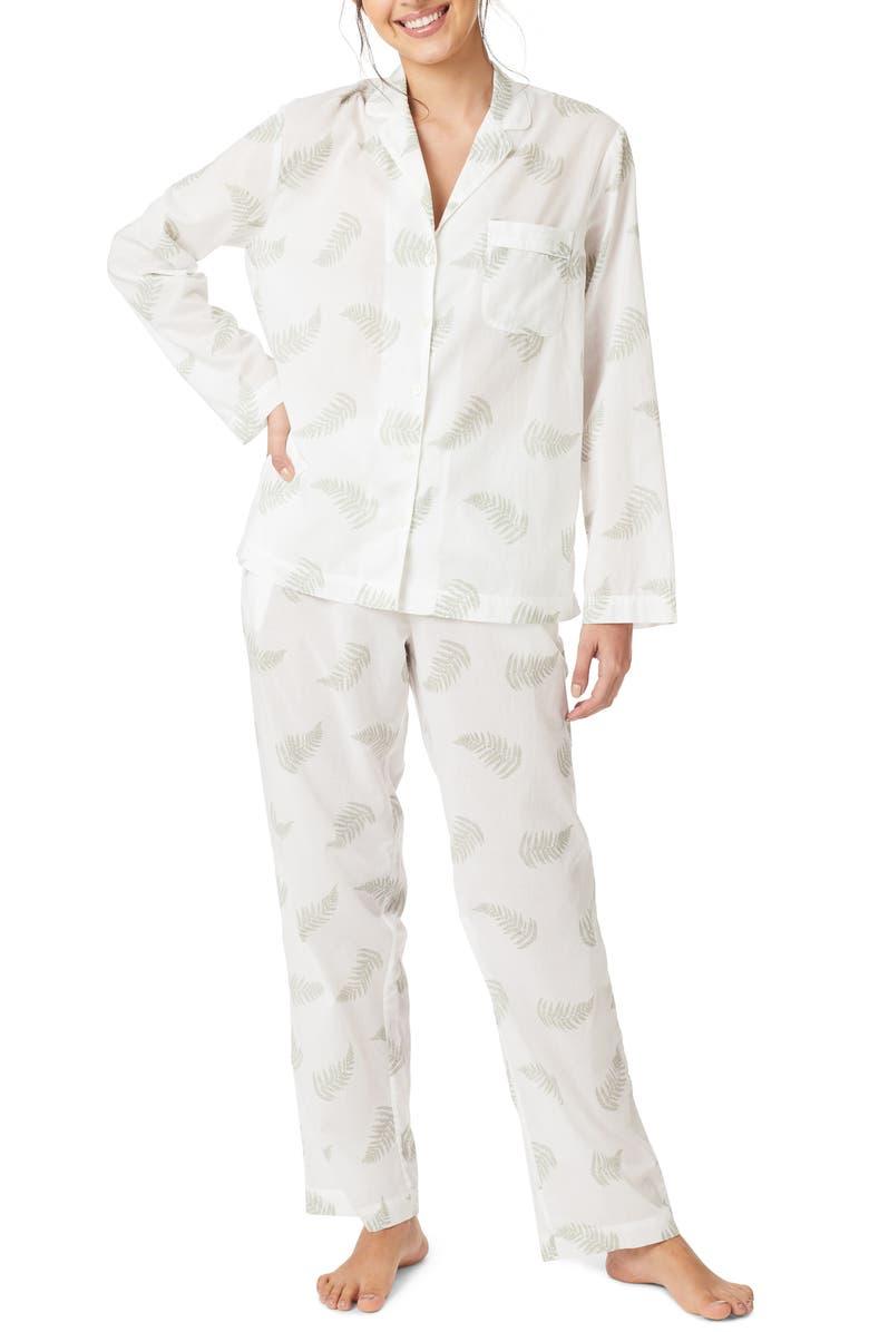 THE WHITE COMPANY Fern Print Cotton Pajamas, Main, color, 900