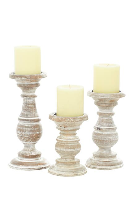 Image of Willow Row White Mango Wood Traditional Candle Holder - Set of 3