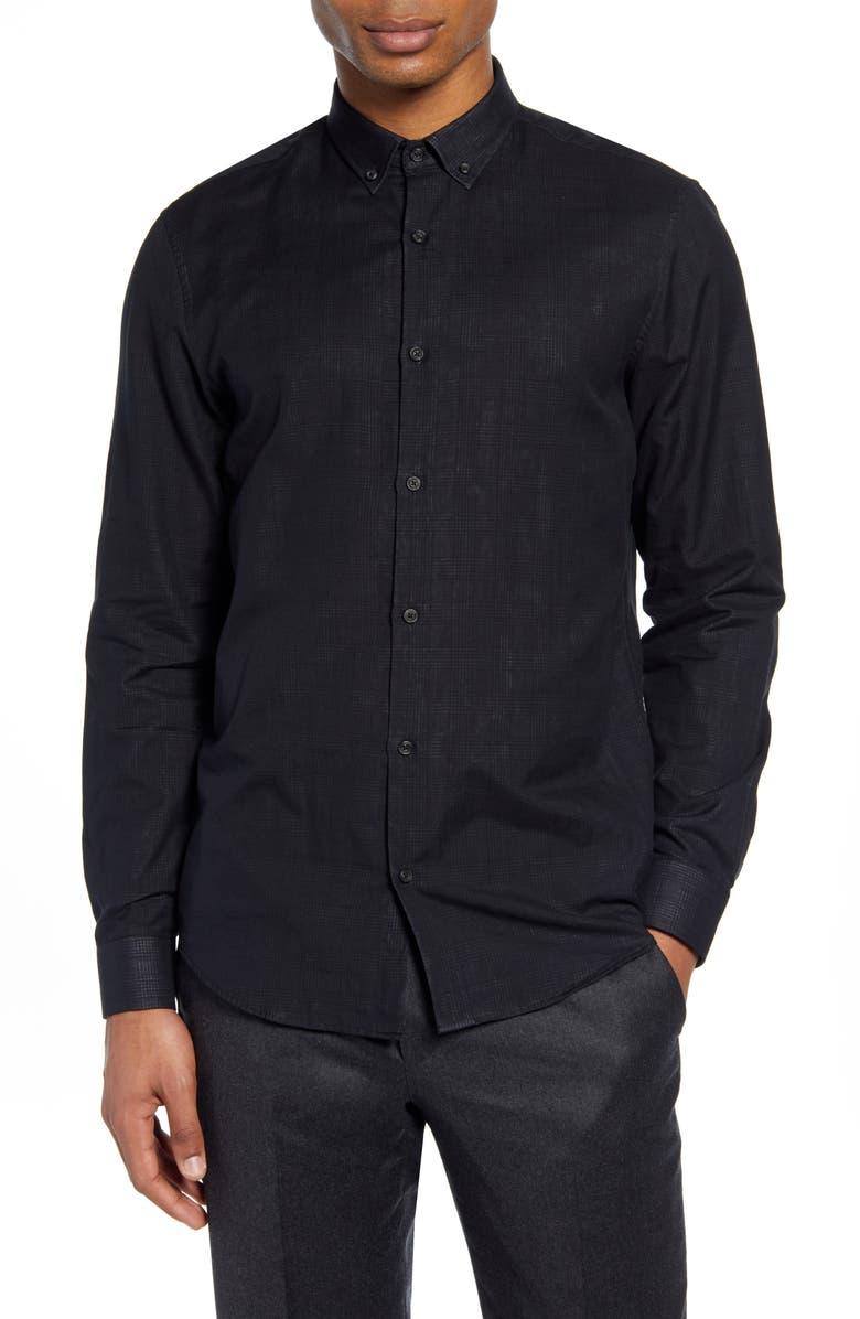 CALIBRATE Slim Fit Plaid Button-Up Shirt, Main, color, 001