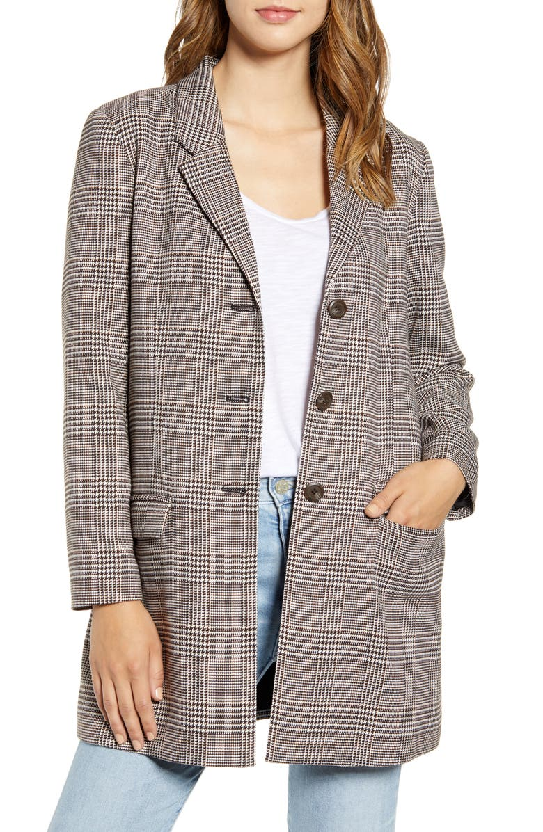 BB DAKOTA Plaid City Blazer, Main, color, BROWN PLAID