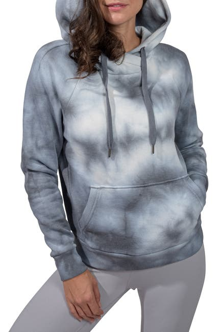 Image of 90 Degree By Reflex Brushed Knit Tie Dye Cross Neck Oversized Hoodie